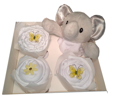 Clothing Cupcakes -Elephant- White- 4 pack
