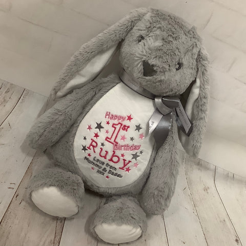 Personalised Bunny Soft Toy Keepsake Gift-Grey