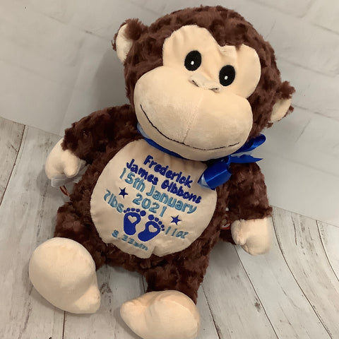 Personalised Monkey Soft Toy Keepsake Gift