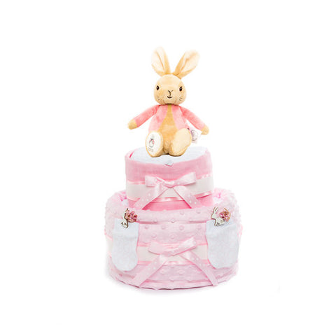 Nappy Cake-Pink-Two Tier-Flopsy Bunny