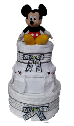 Nappy Cake - White - Three Tier - Mickey Mouse