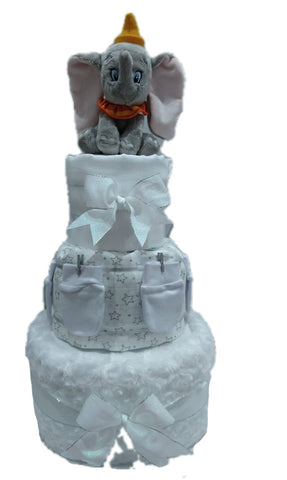 Nappy Cake-White-Three Tier-Dumbo
