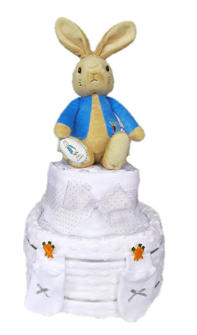 Nappy Cake-White-Two Tier-Peter Rabbit