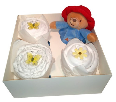 Clothing Cupcakes- White-Paddington Bear-4 pack