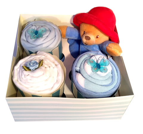 Clothing Cupcakes- Blue-Paddington Bear-4 pack
