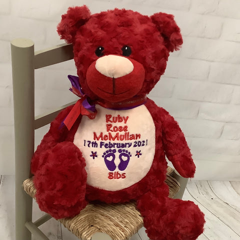 Personalised Bear Soft Toy Keepsake Gift-Ruby Red