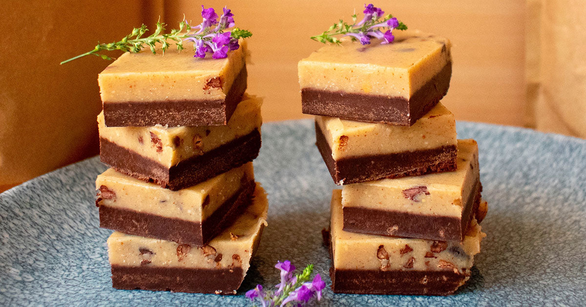 Raw Cacao and Peanut Butter Nibbly Fudge stacks