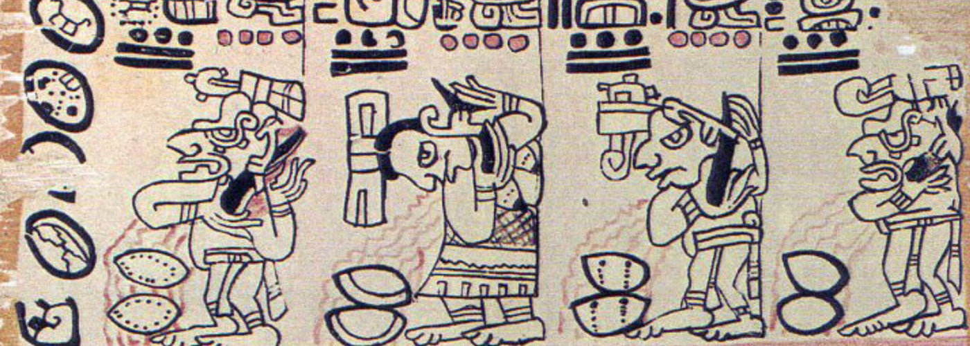 mayan gods cutting their ears over cacao pods