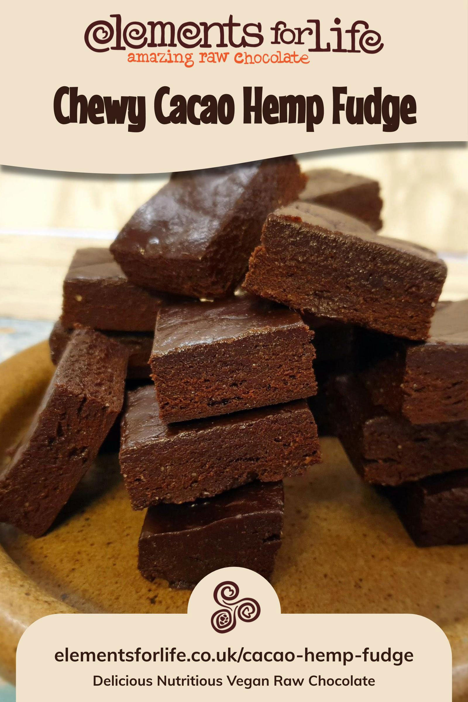 chewy cacao hemp paleo vegan fudge