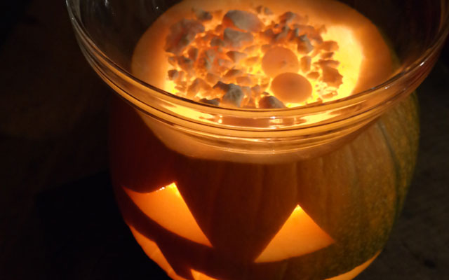 halloween pumpkin with raw chocolate melting