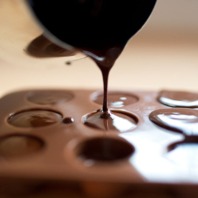pouring raw chocolate