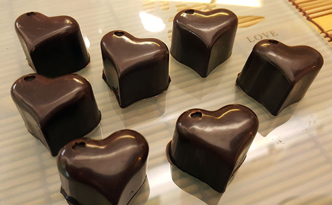 valentine raw chocolate hearts