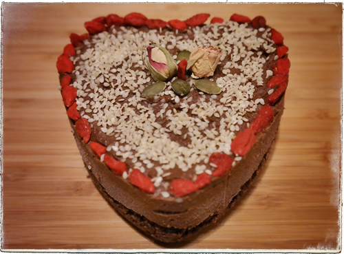 heart raw chocolate cake