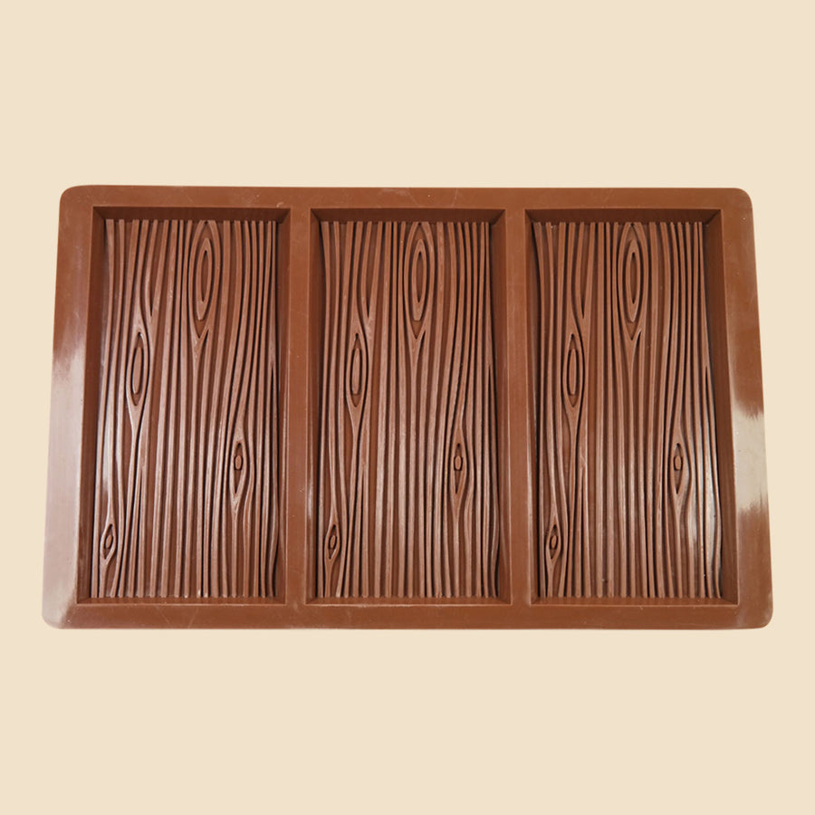 3 bar wood grain silicone chocolate mould