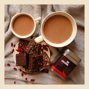 fiery raw cacao hot chocolate with yummy scrummy and choc omega brownies