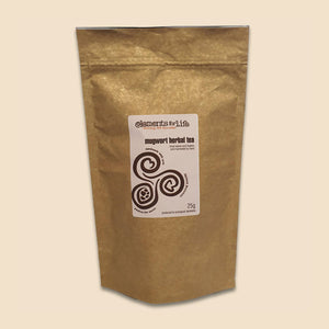 mugwort loose leaves and flowers herbal tea in plastic-free compostable bag 25g