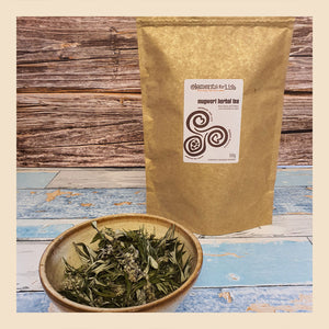 mugwort herbal loose tea from dried flowers and leaves packaged in compostable bags