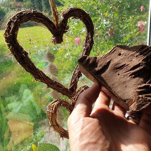 criollo cacao paste and heart in sunny window