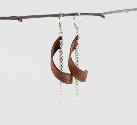 Spiral Bentwood Earrings in Mountain Mahogany