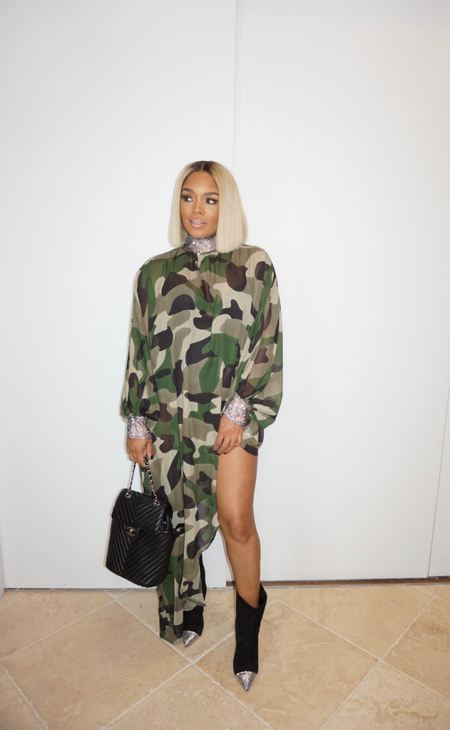 Camo Asymmetrical Sheer Jewel Shirt Dress