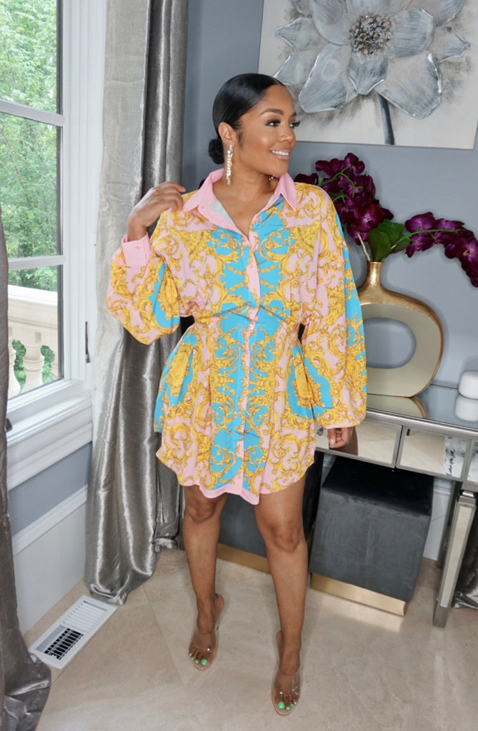 Snatched Sace Shirt Dress