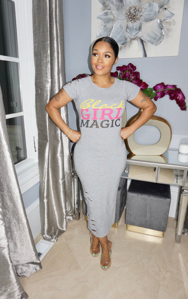 Black Girl Magic Dress Gray