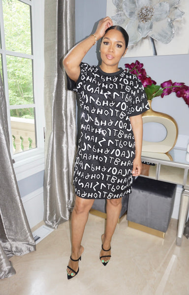Alphabet Sequins Shirt Dress