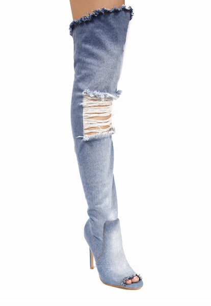 CR Denim Distressed Boots