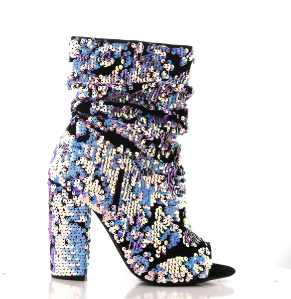 CR Sequins Peep Bootie