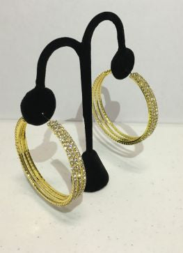 The 3 Line Crystal Hoops