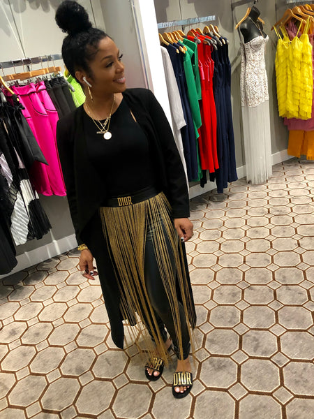 Black & Gold Faux Tassel Pants