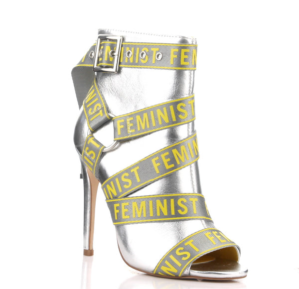 CR Silver Feminist Bootie