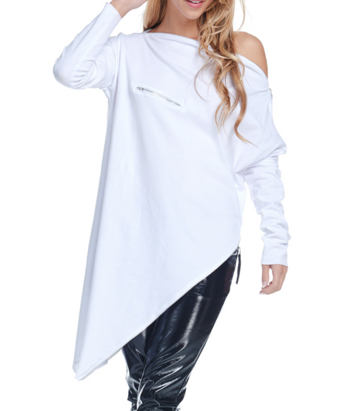 Asymmetrical Zip Top White