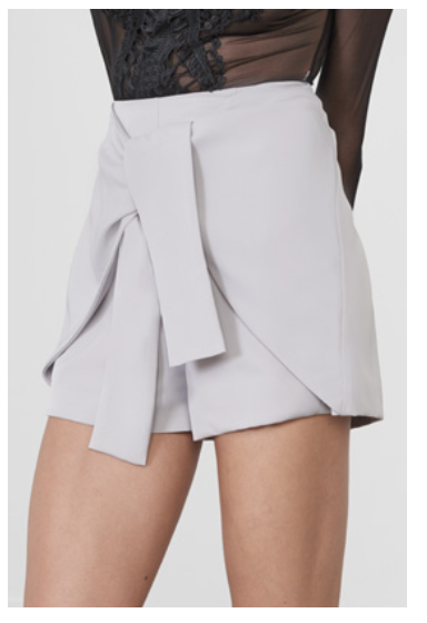 Gray Tie Front Shorts