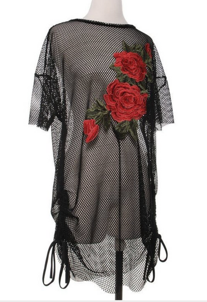 Black Net Rose Tie Top