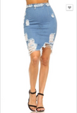 Distressed High Waist Denim Skirt