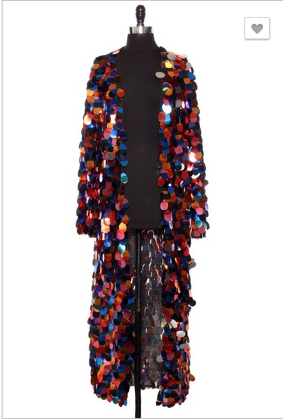 Dark Rainbow Sequins Cardigan