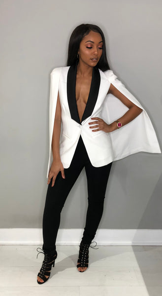 Black & White Cape Blazer