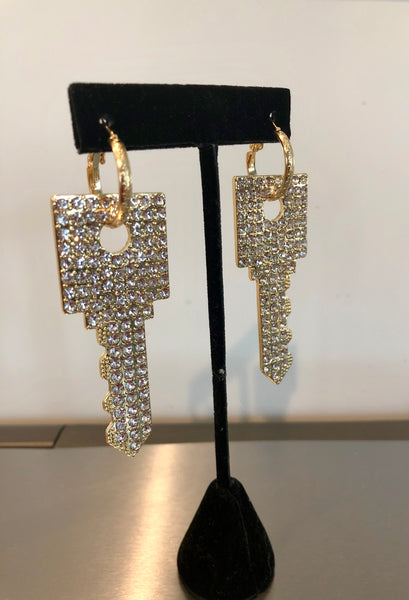 Bling Square Key Earrings