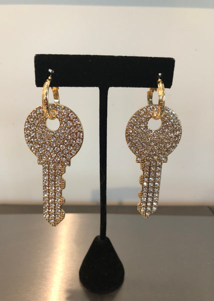 Bling Key Earrings