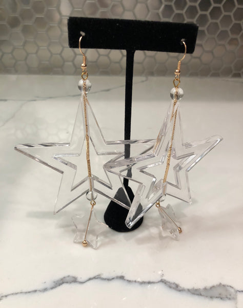 Clear Star Earrings