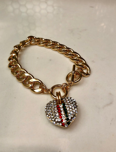 2 Stripe Heart Bracelet