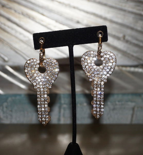 Bling Love Key Earrings