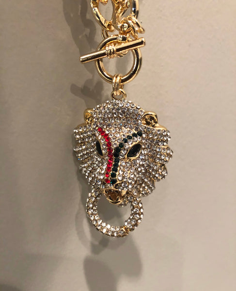 Bling Lion Head Necklace