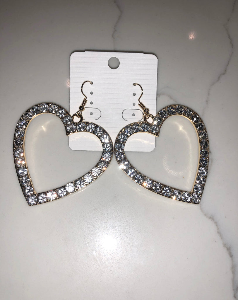 Bling Heart Earrings