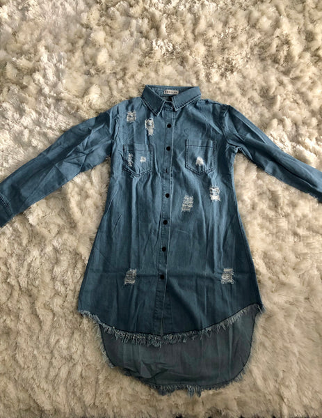 Denim Distressed Shirt Dress