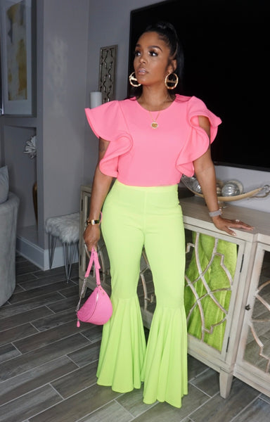 Neon Ruffle Sleeve Crop Top