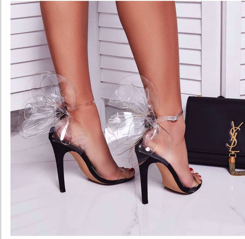 LA Clear Flower Back Heels