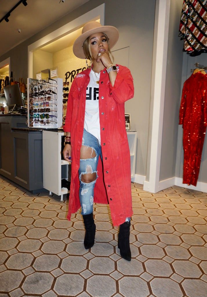 Red Distressed Long Jacket
