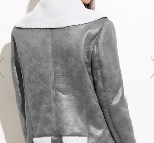 Grey Faux Shearling